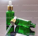 30ml绿色玻璃瓶_精油瓶_配亮金电化铝滴管盖_玻璃滴管瓶